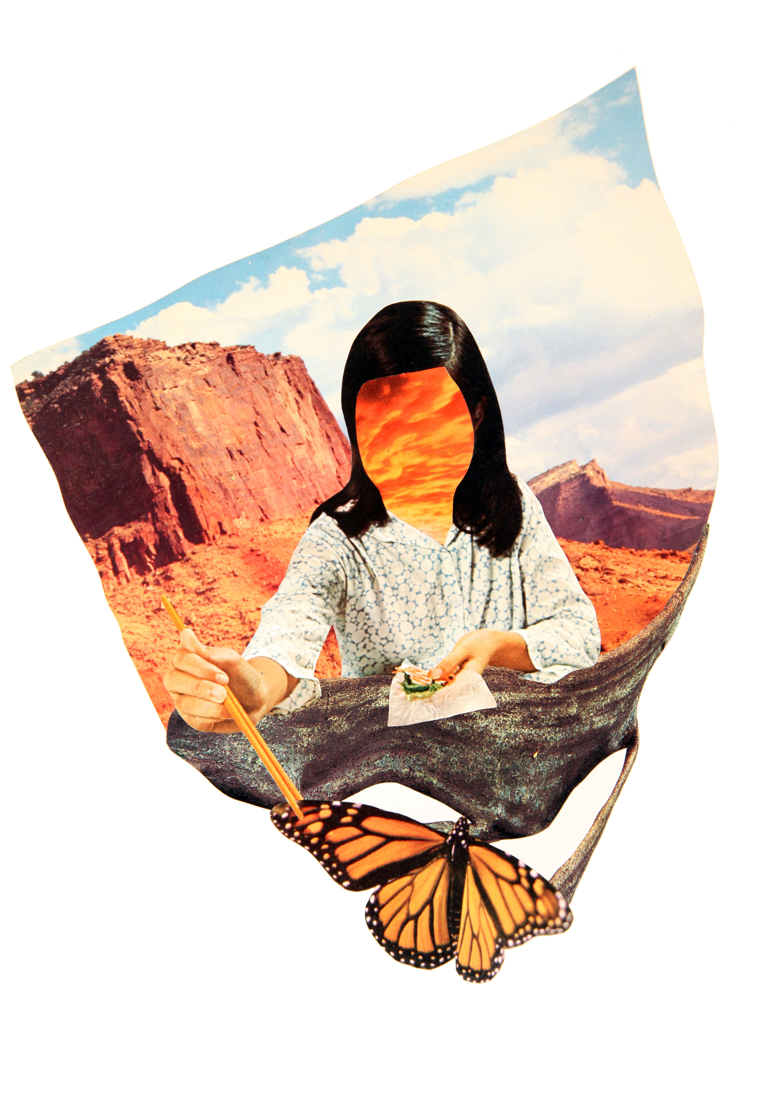 """Over The Canyon, Behind The Pain. That's Where We'll Find Our Way Home   11"""" x 15"""" Hand Cut Paper Collage on Vellum Paper"""