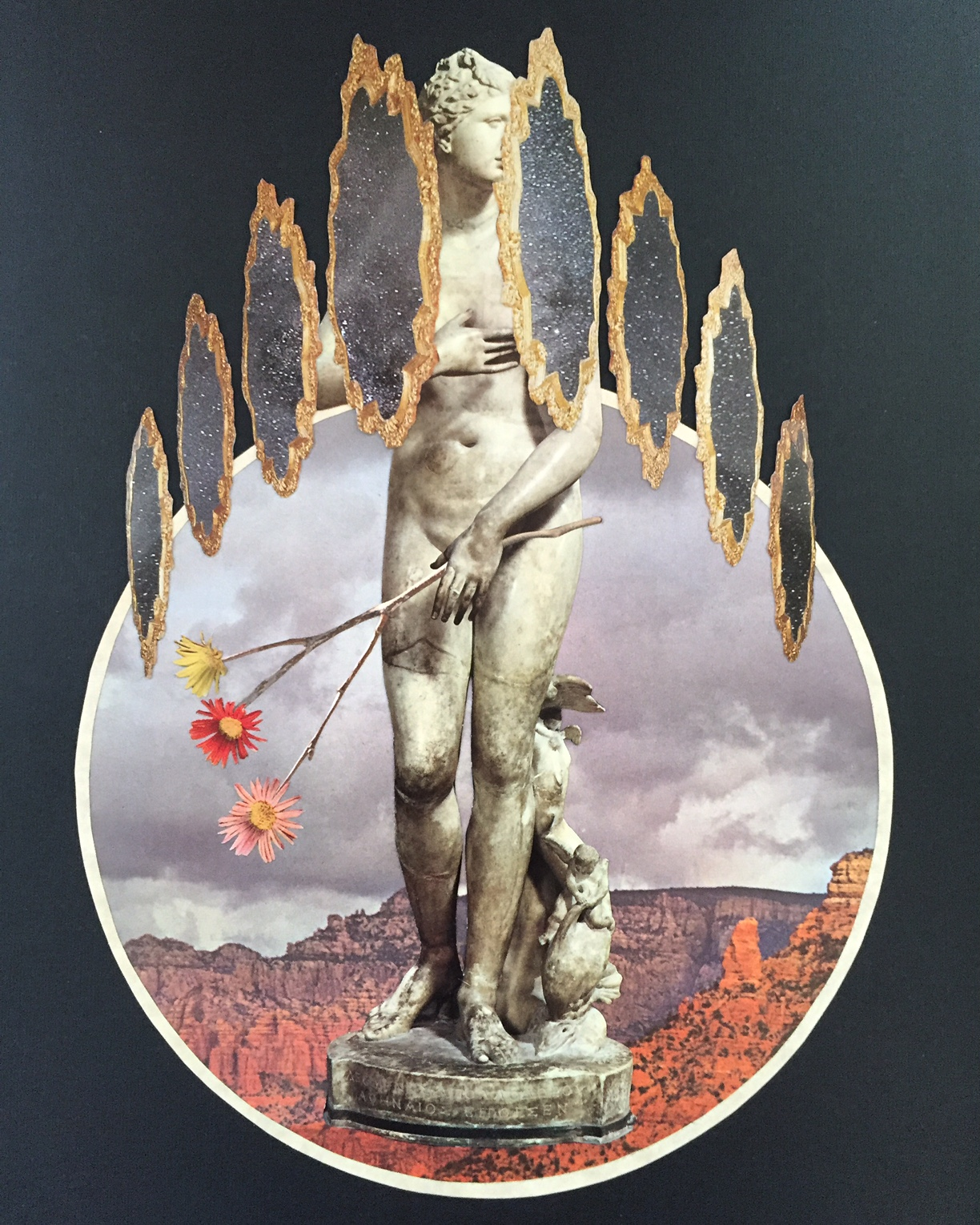"The Broken Symmetry Of Autumn   10"" x 13"" Mixed Media Paper Collage On Found Book Cover"