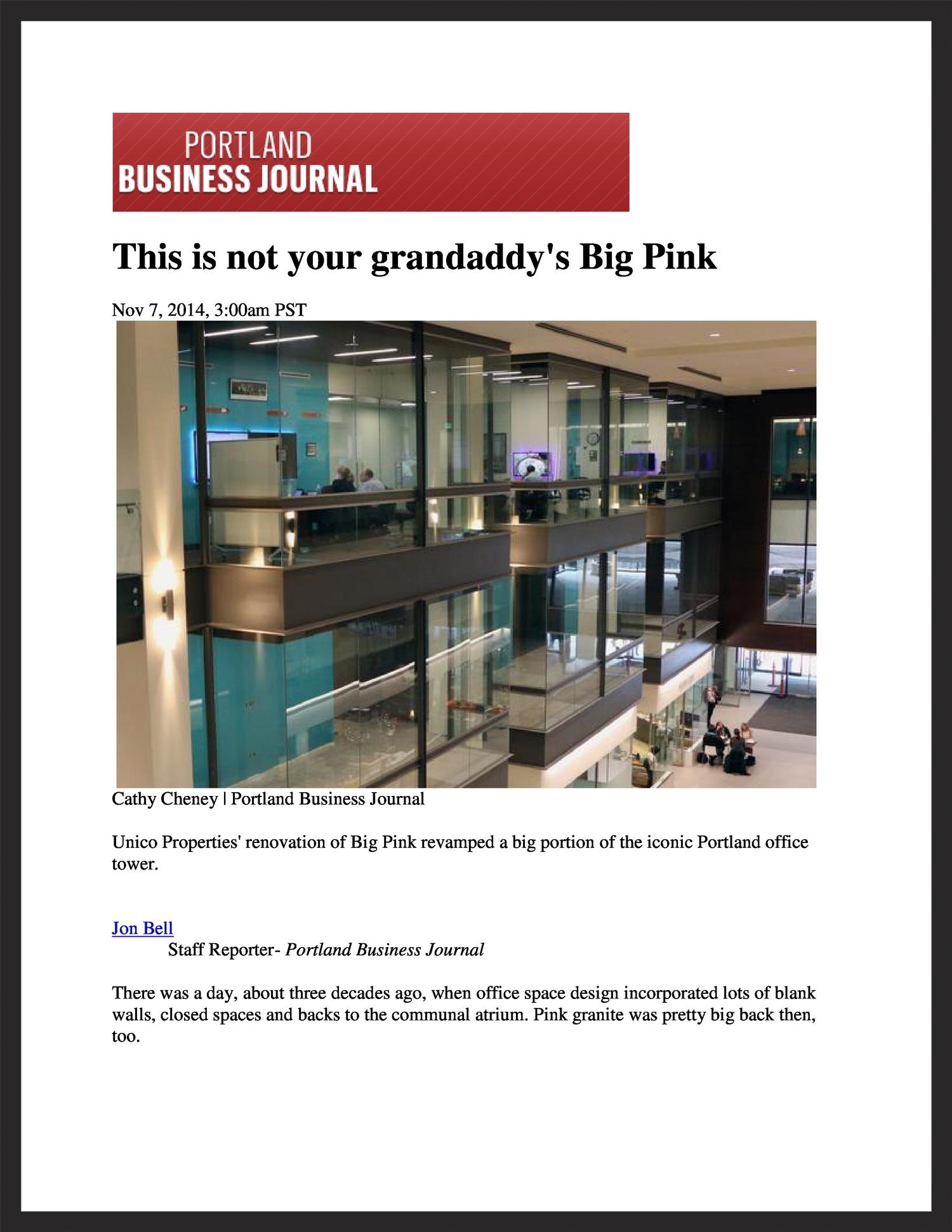 UNICO  Portland Business Journal  11.07.2014