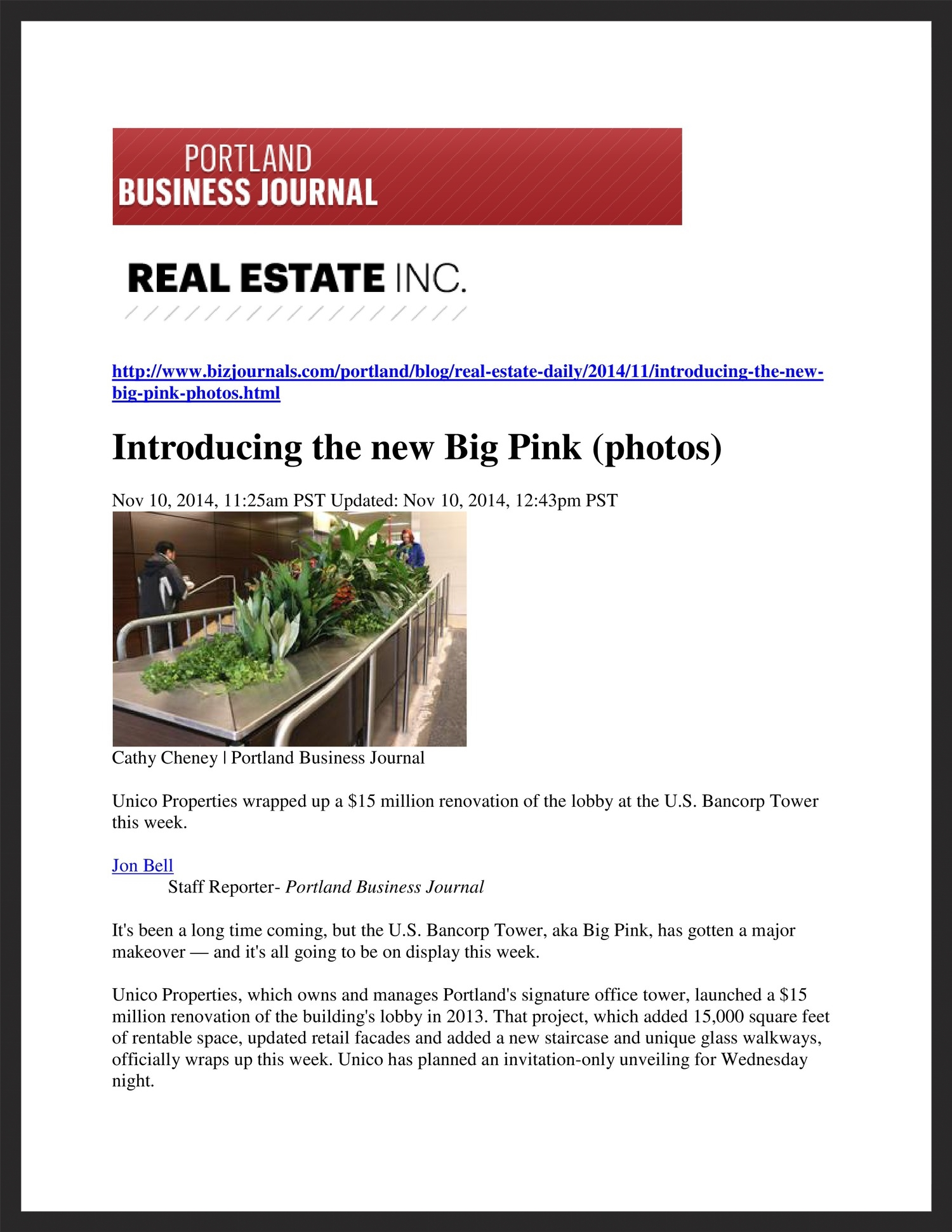 UNICO  Portland Business Journal  11.10.2014
