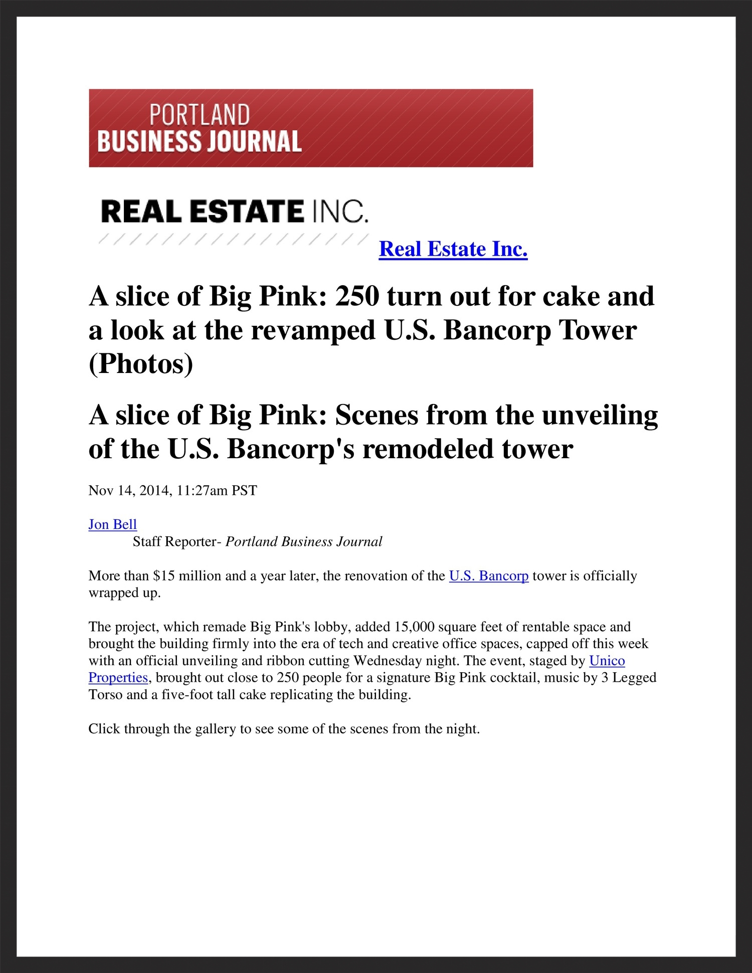 UNICO  Portland Business Journal  11.14.2014