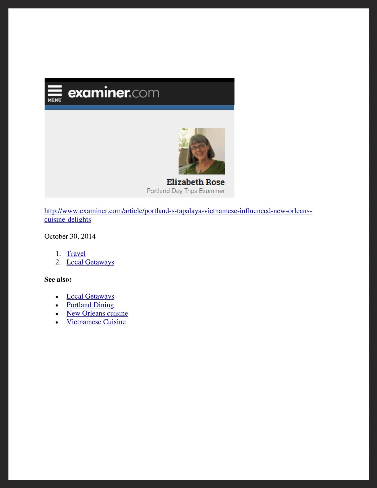 TAPALAYA  Examiner.com  10.30.2014