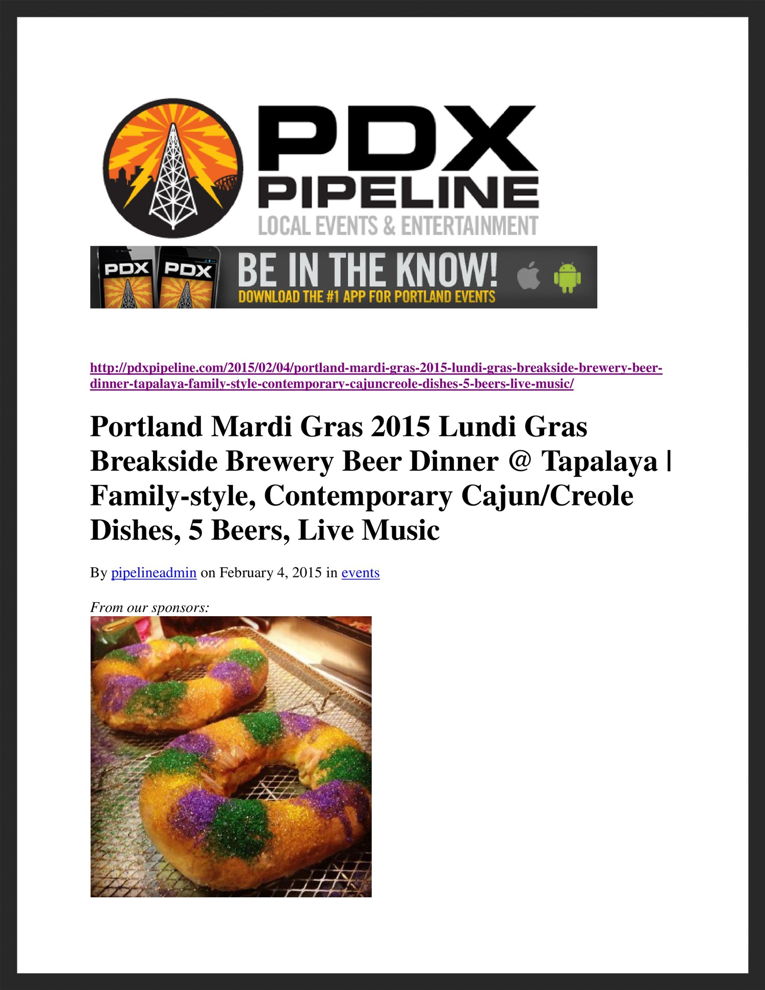 TAPALAYA  PDX Pipeline  02.04.2015