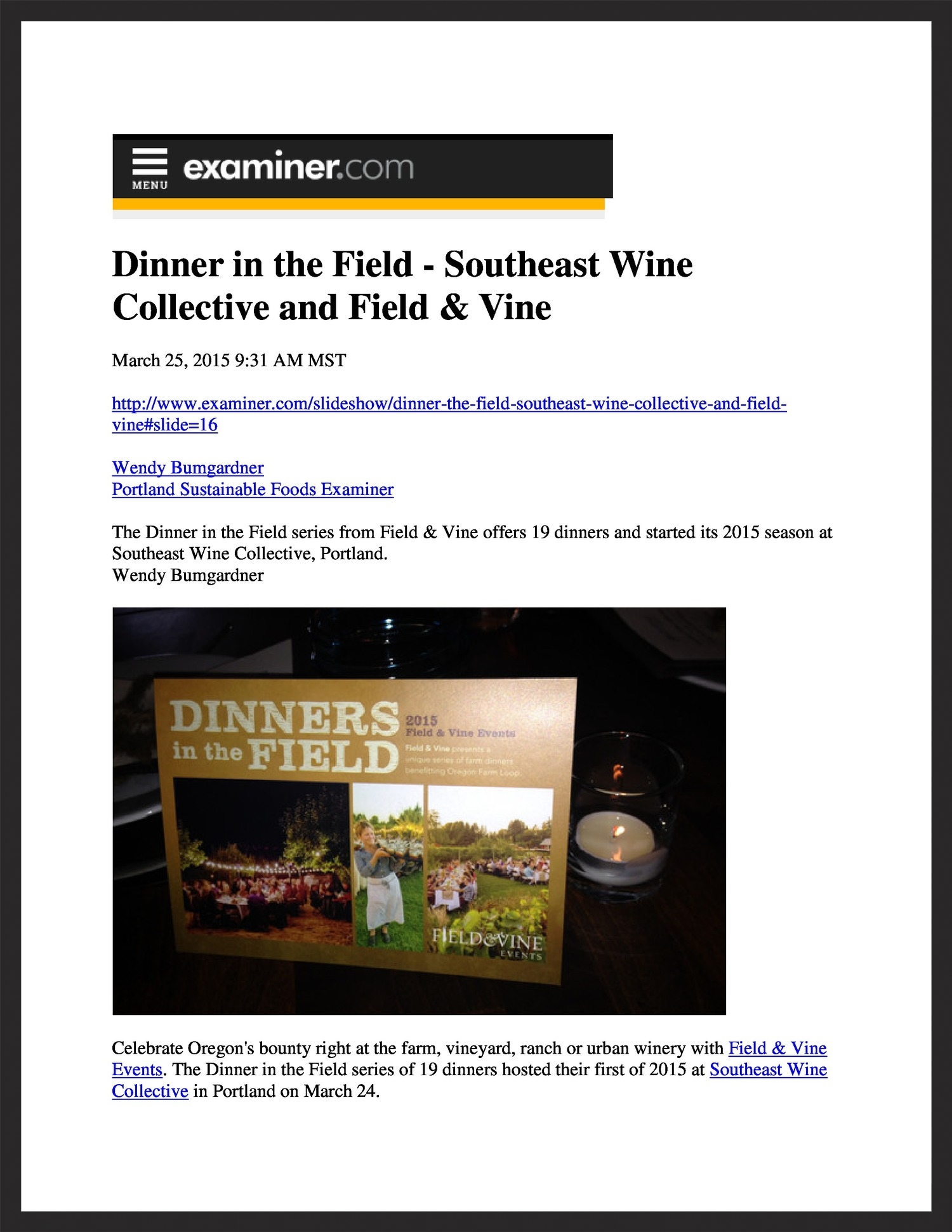 FIELD &VINE  Examiner.com  03.25.2015