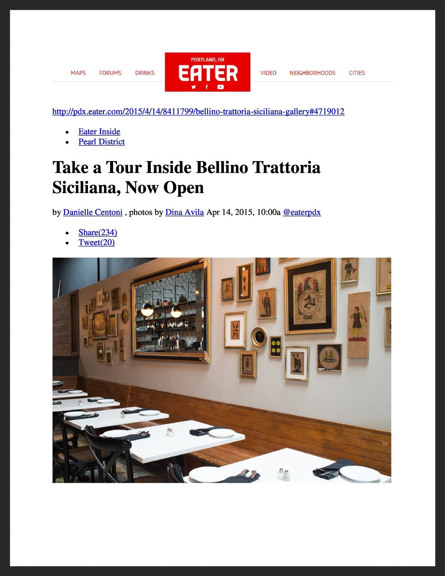 BELLINO TRATTORIA SICILIANA   Eater  04.14.2015