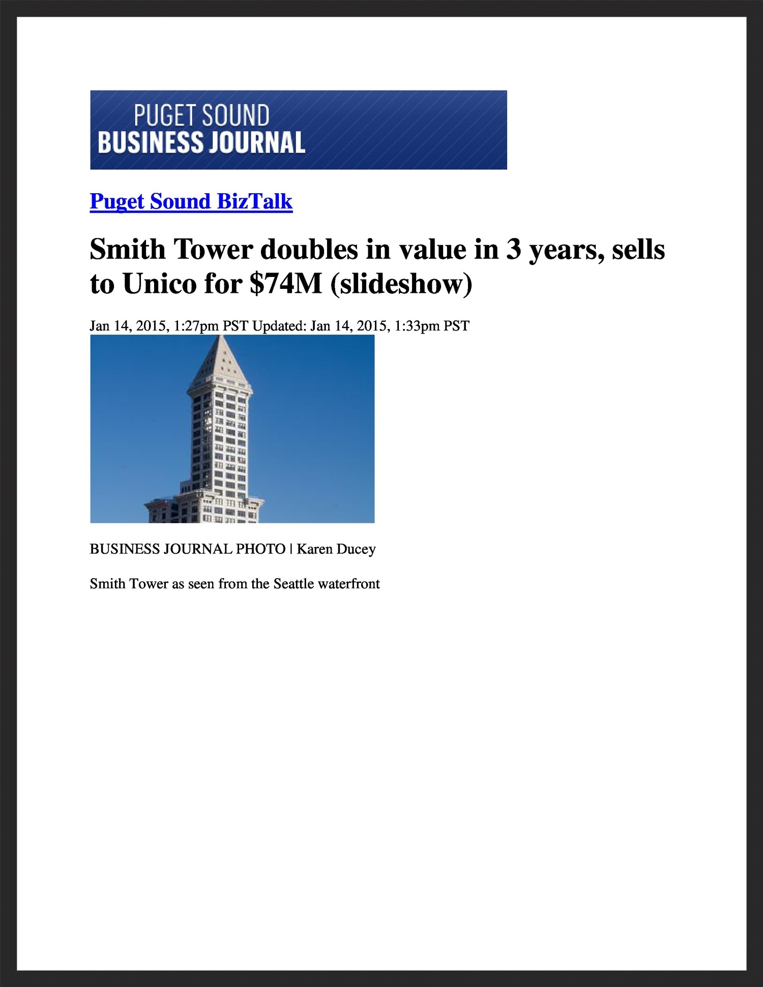 UNICO  Puget Sound Business Journal  01.14.2015