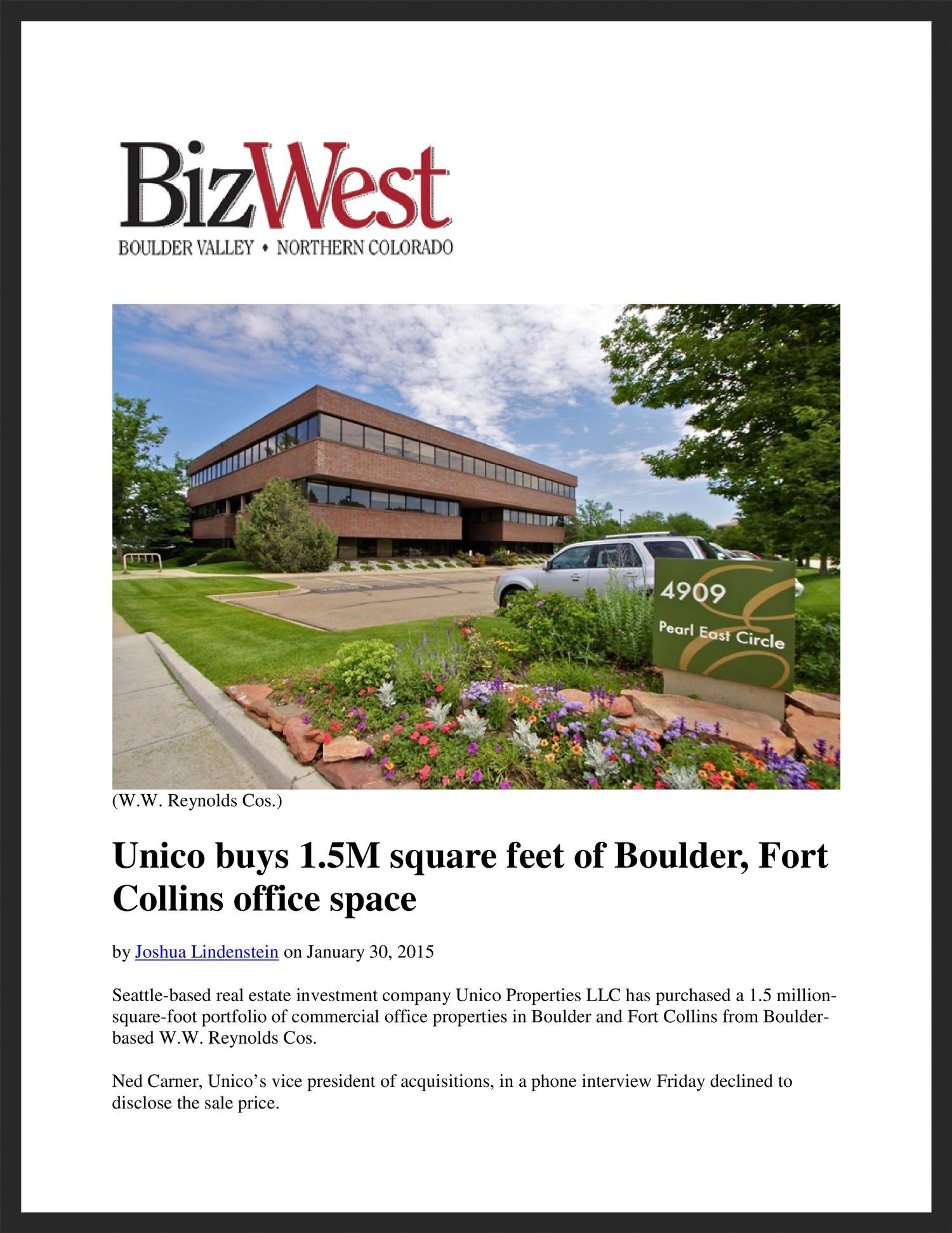 UNICO  BizWest  01.30.2015