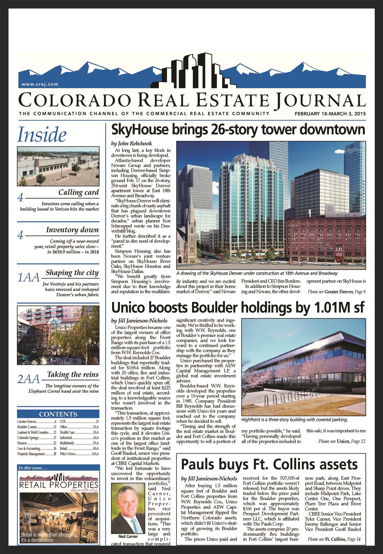 UNICO  Colorado Real Estate Journal  02.18.2015