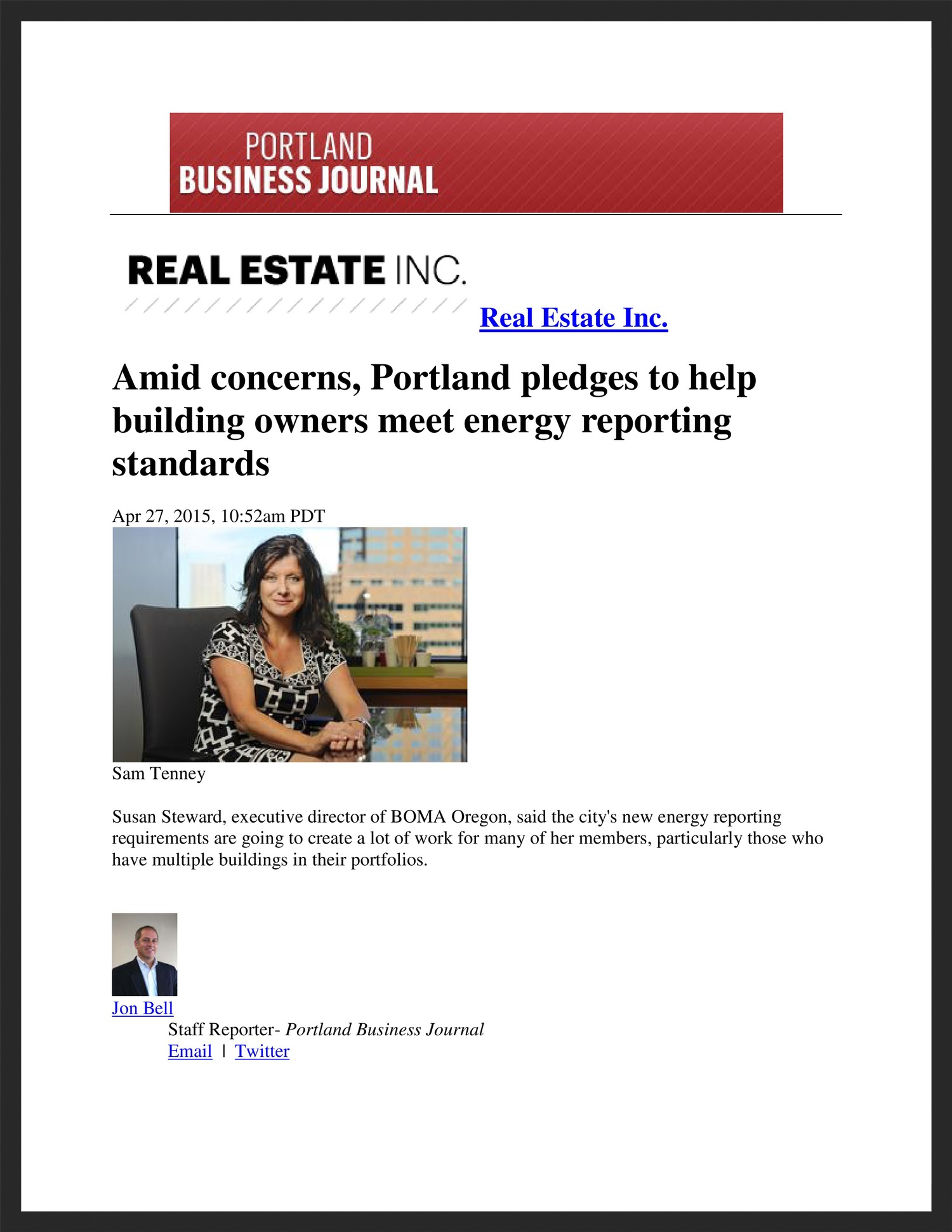 BOMA OREGON  Portland Business Journal  04.27.2015