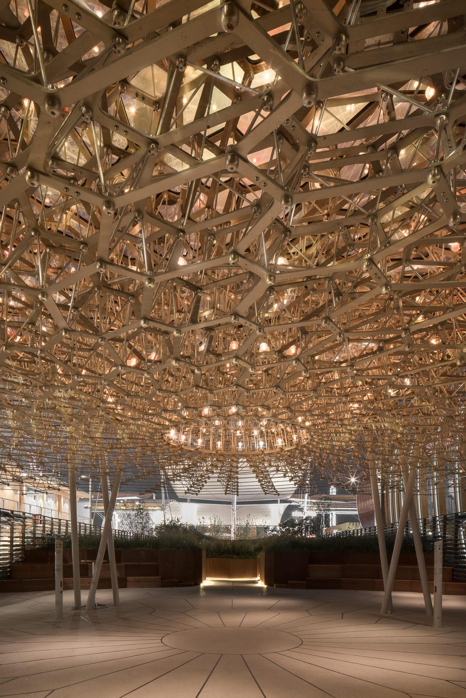 at night under the uk pavilion, milan expo, mark hadden