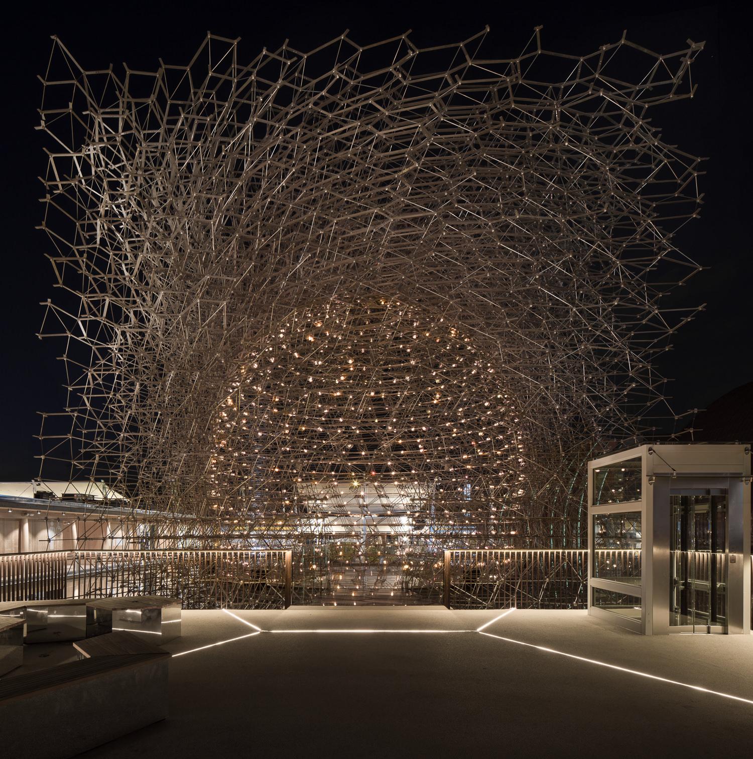 uk pavilion at night, milan expo, mark hadden architecture photographer