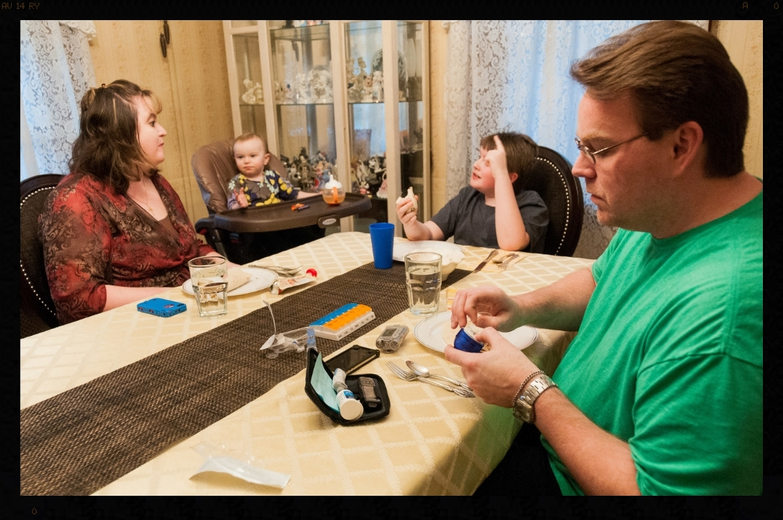 "For Catie and TJ Atkins diabetes is truly a family affair. Of their nine combine parents and siblings, five have diabetes. The dinner table is both the family gathering place and a source of complex menu offerings and calculations. For Catie it takes commitment and courage to come home from work every day and prepare three dinners, one for TJ, and one for her and one for the kids. For TJ it took a major event at 40 to help him find the courage to live his life in control. His message to all diabetics, especially younger ones, ""pay attention to what it takes to be in control; otherwise you will end up like me with a heart attack at 40"". For the Atkins family, courage is also a family affair."