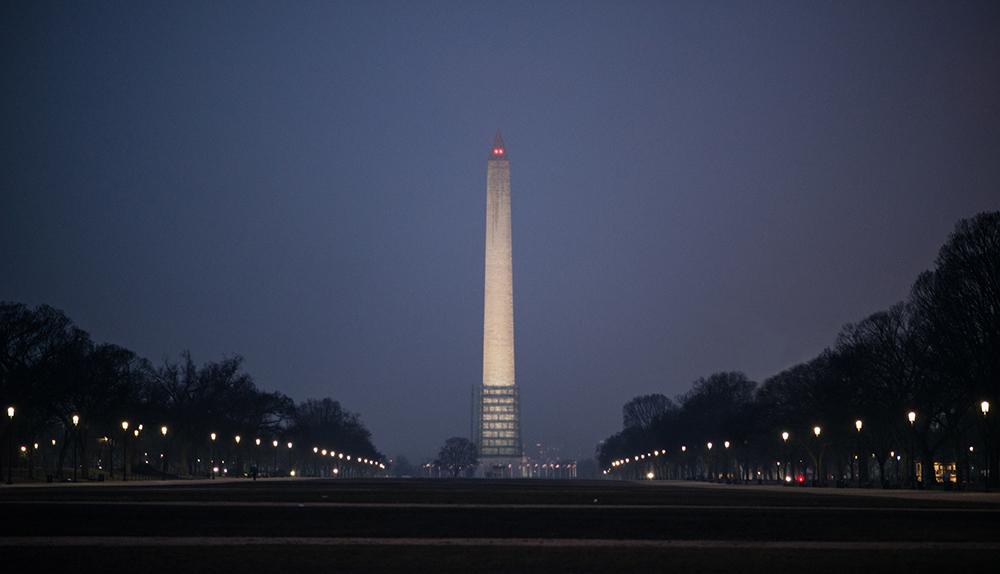 Washington D.C.: Washington Monument on a rainy night