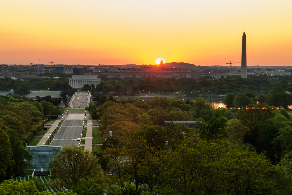 Wide-Angle of the Sunrise with the Lincoln Memorial and the Washington Monument in View