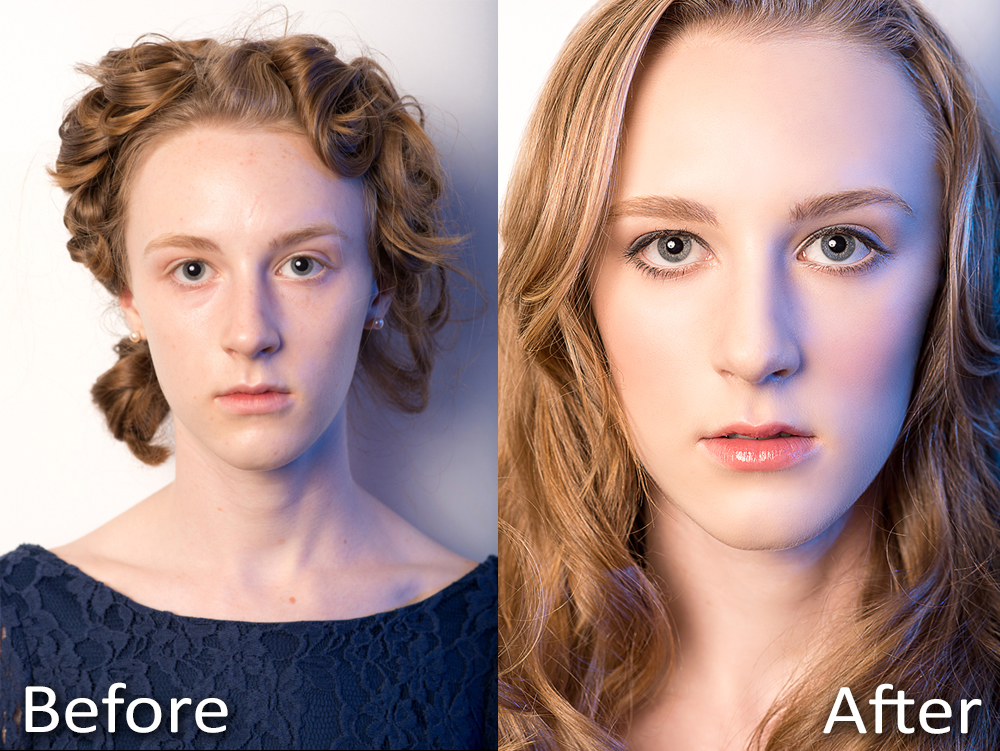 "Before and After Picture using the same lighting. The Before picture is a common ""Polaroid"" to send to agencies."