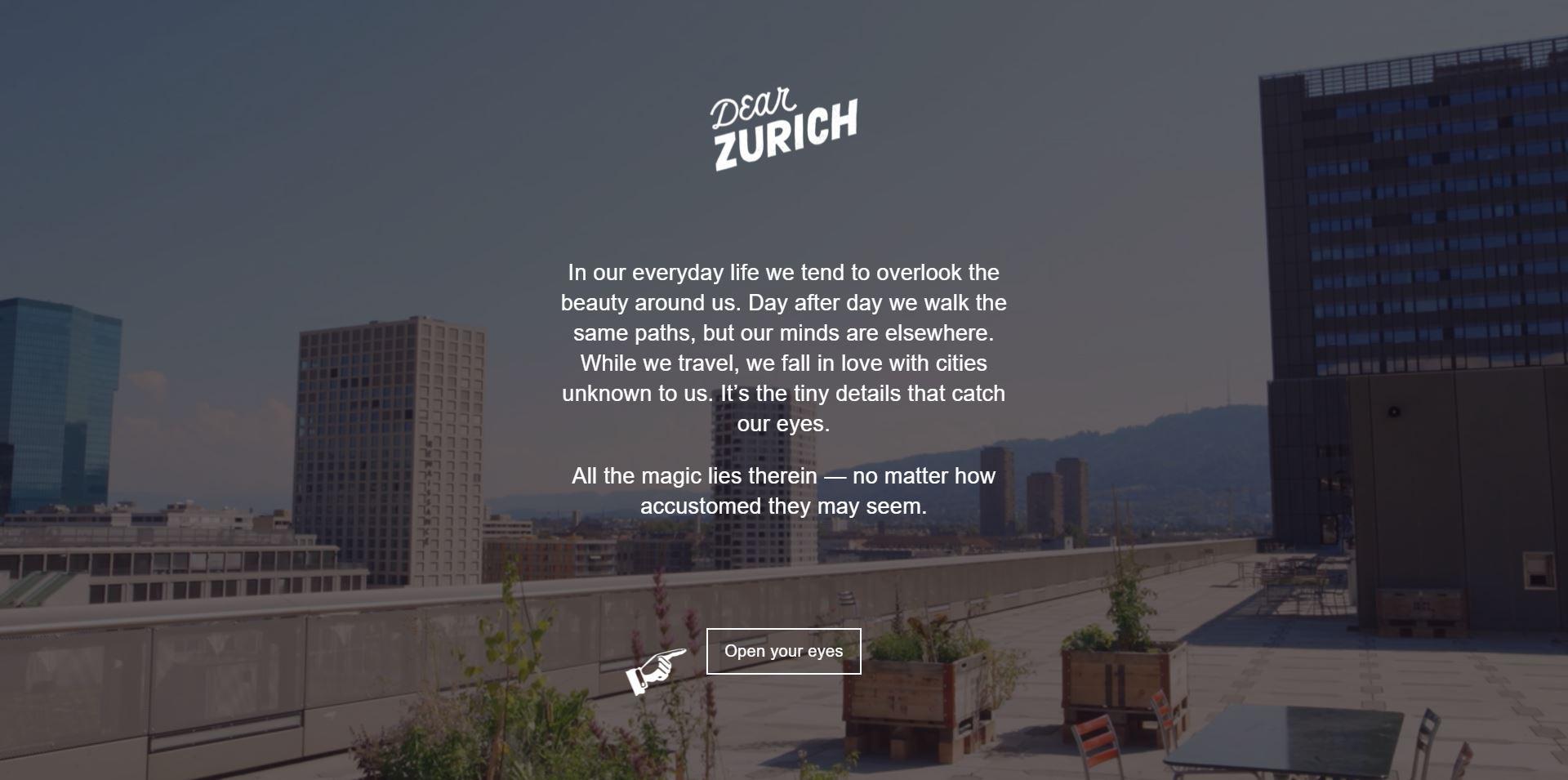 Dear Zurich Startseite / Bild : Screenshot