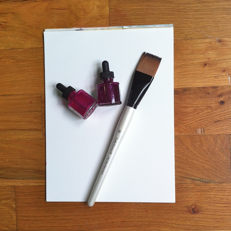 Supplies:   -    Watercolor paper   -Large paint brush   -India Ink (2 colors)   - Water