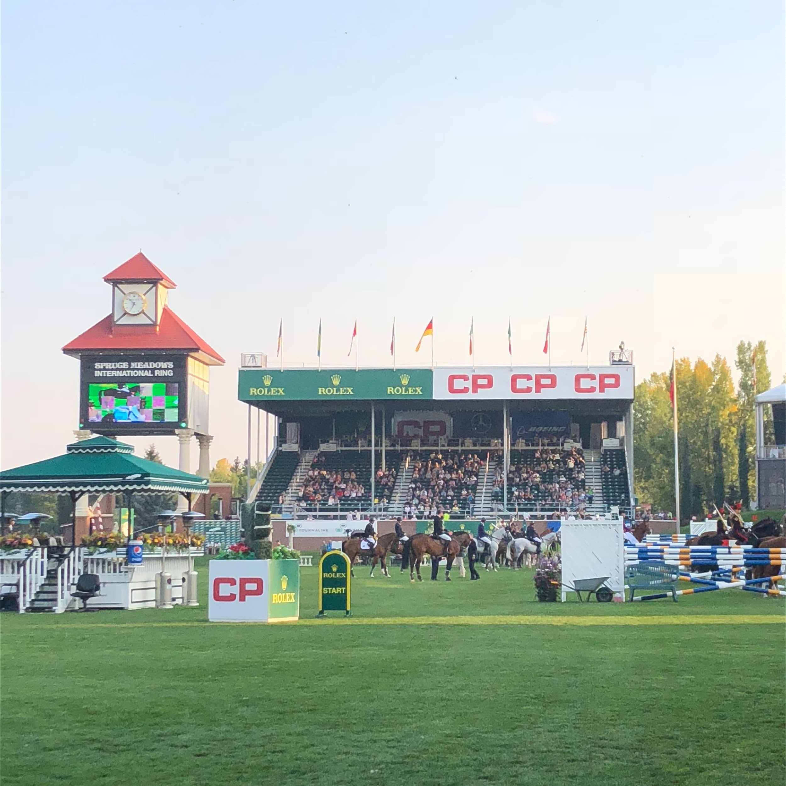 Lead up to the 6-bar jumping event at Spruce Meadows.