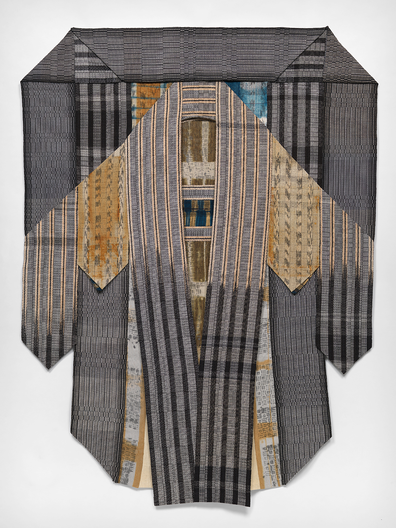 "Embrace,  Ikat, Shibori, Batik Resist Dyeing, Handwoven 91""x& 71"".  Photo Credit: Mark Gulezian"