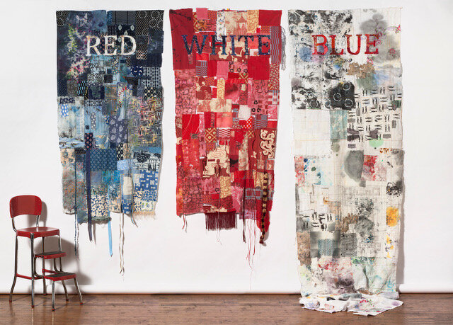 Red, White, Blue   , 116w x 102w x 36d, painted, thermo-faxed, and block printed deconstructed repurposed clothing and linens.