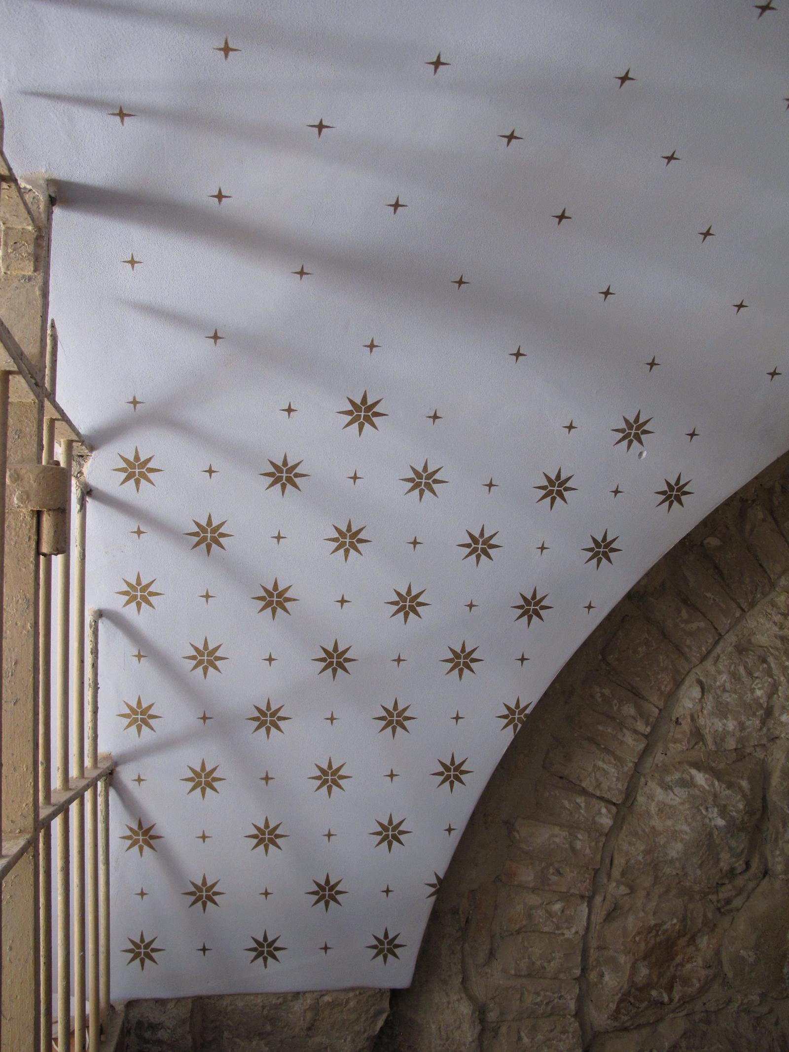 Ceiling painting at the underground academy, Mamuta Art and Media Center, Hansen House, Jerusalem