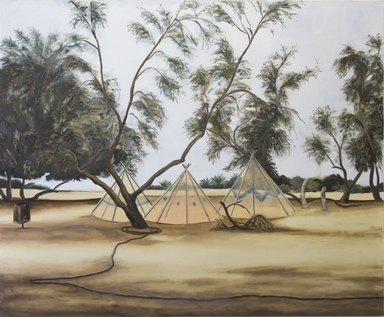 Three tents and five Tamarix trees
