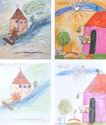 Top: Munter's paintings  Bottom: Child's drawings