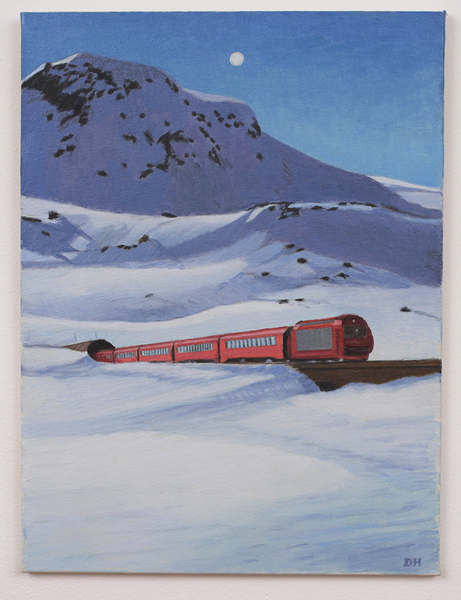 Duncan Hannah, Tram in Alps, 2012, 24 x 18 inches, Oil on canvas
