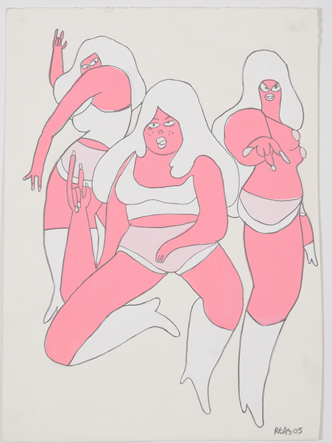 Todd James, Pink Ladies, 2005, 15 x 11 inch, paint and pencil on paper