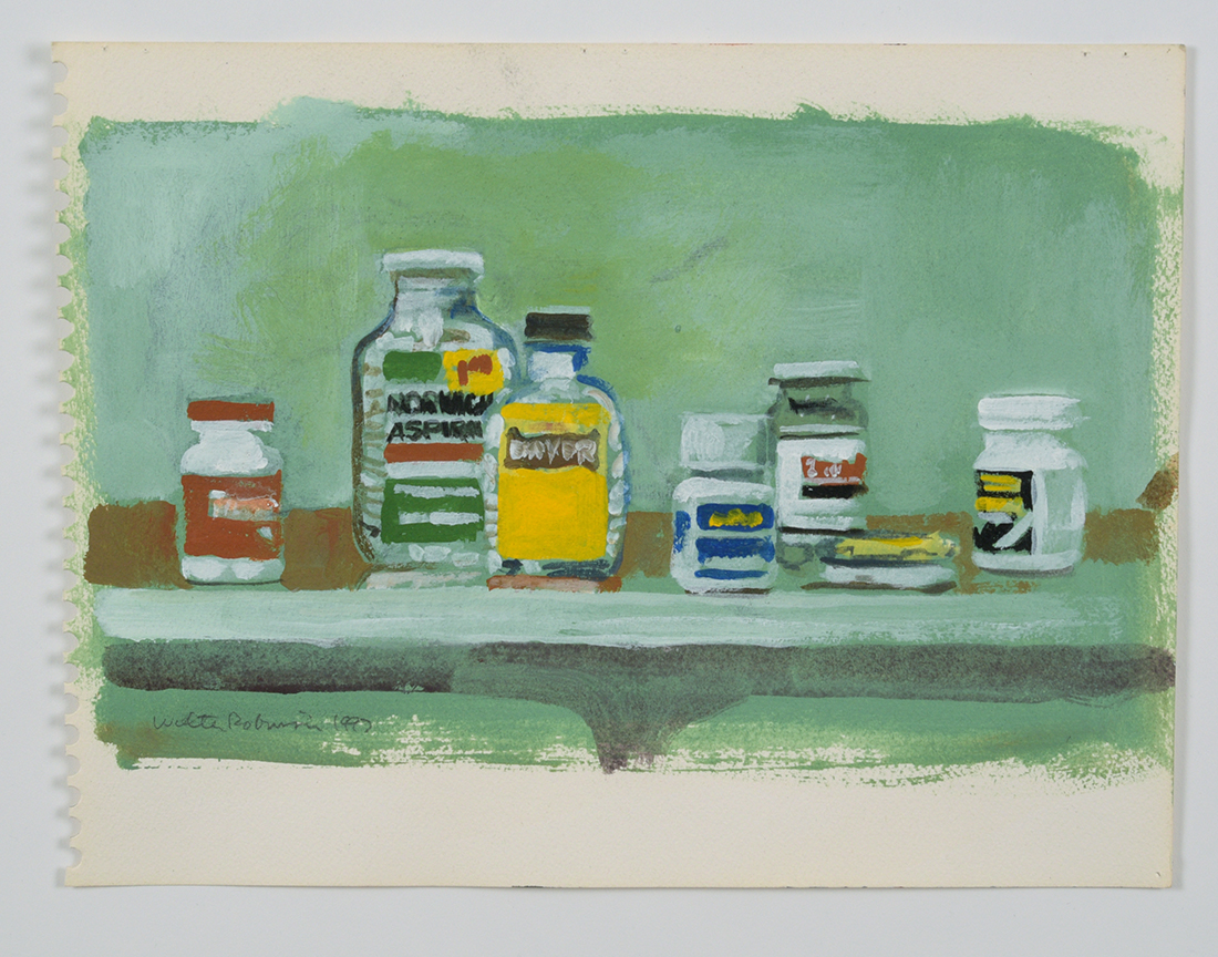 Walter Robinson, Painkillers, 1997, 8 x 10 inches, acrylic on paper