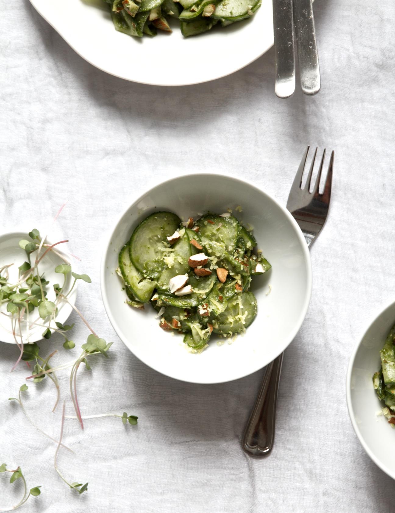 herbed cucumber salad + herbed vegetable dip