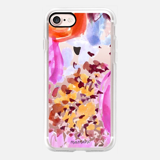 Phone Case : ALL SIZES    TRANSPARENT :CLEARLY FLORAL  FUCHSIA