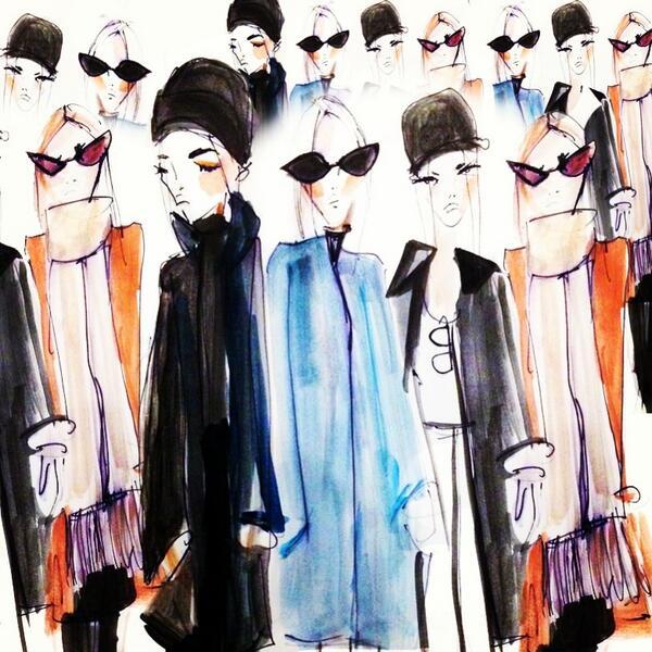 Girls in Coats. Watercolor.