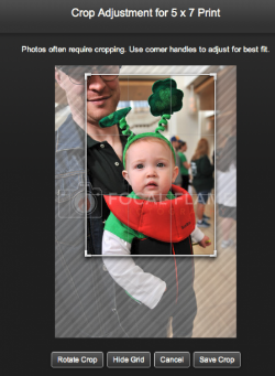 "If the default crop isn't suitable, click on ""Adjust."" On the resulting pane, click and drag the lines at the corners of the image to adjust the crop. Click "" Rotate crop "" to go from portrait to landscape and back again. Click on ""Save crop"" when you're satisfied."