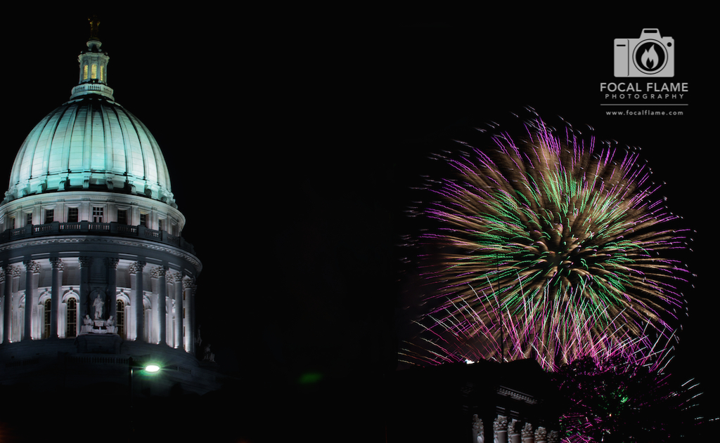 The Wisconsin State Capitol building becomes ornamented with light during Rhythm and Booms. (c) 2014 Focal Flame Photography | Photo credit: Josh Zytkiewicz