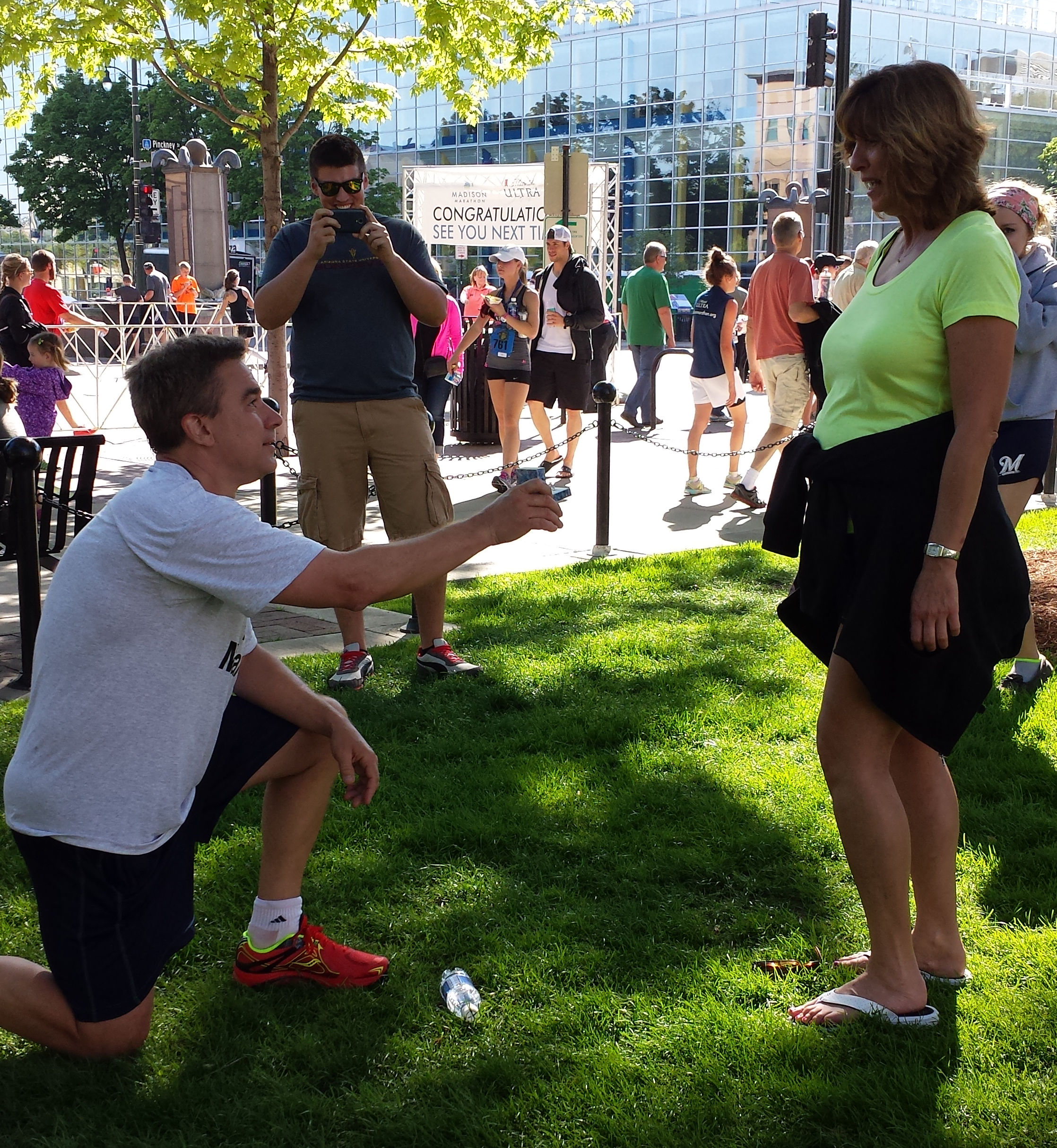 Greg proposed to his fiancé after the 2014 Spring Madison Half Marathon. Photo provided by Greg's daughter Rebecca B.