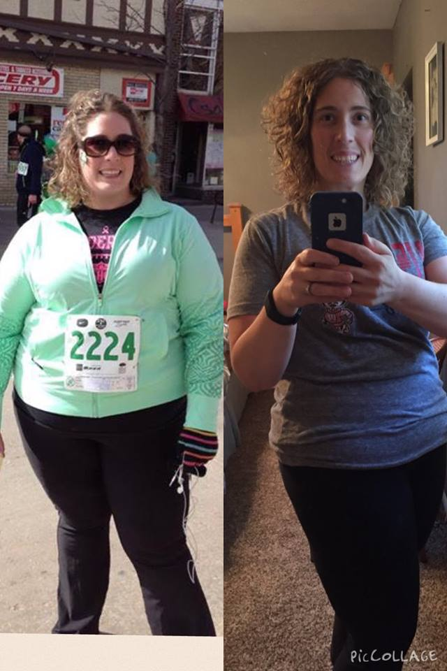 Faye shares these photos from March 2014 (left) and July 2015 (right)...75 pounds lost. Photo collage courtesy Feye Reber.
