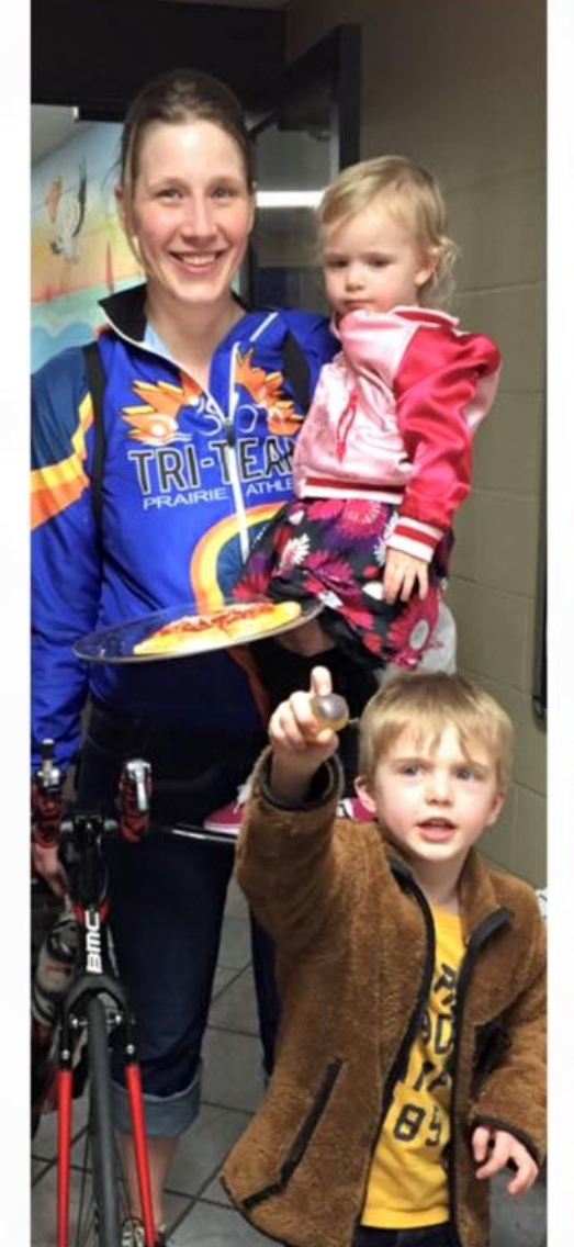 Brianne with her kids after completing an indoor triathlon. Photo courtesy of Brianne Pitts.