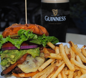 Muldoon's St. Paddy's Burger, Handcut Pub Fries & Guinness poured right!