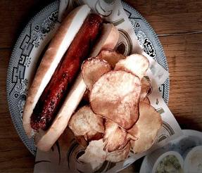 "MULDOON'S ""BULLDOG"" ~ An All-Beef 1/2 pound Hotdog with Handcut Pub Chips"