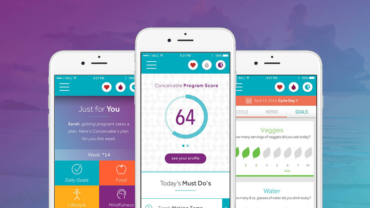 Conceivable's built in fertility assessment starts giving you fertility insights and program recommendations right away