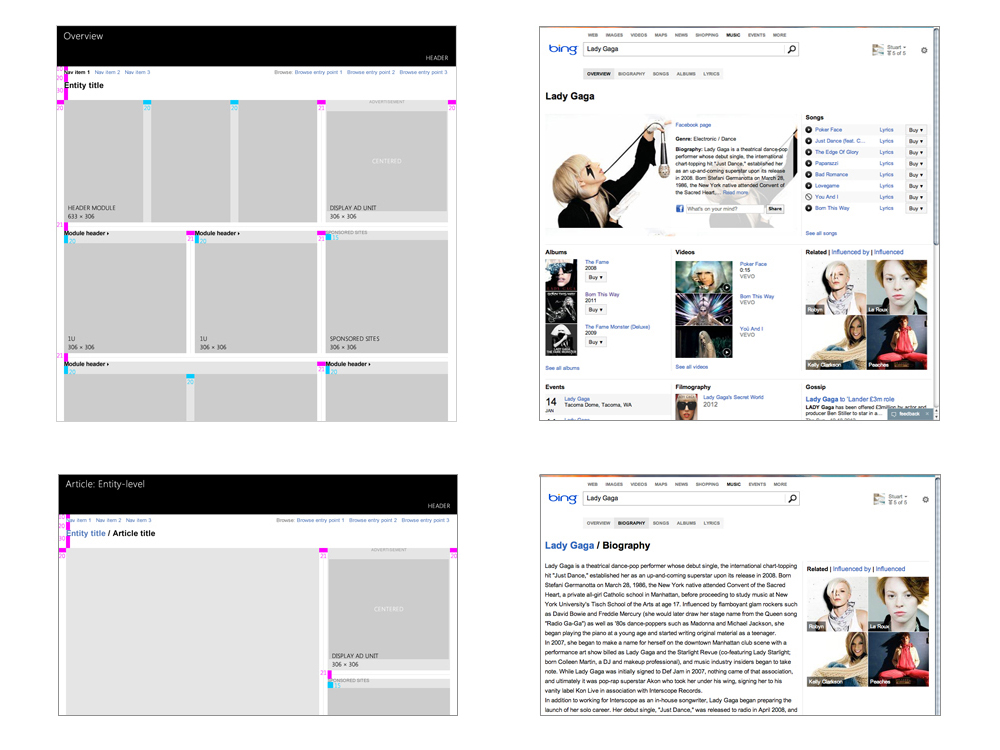 Examples of team collaboration to develop grid systems for different categories of data across the Bing Experience. Left: final grid guidelines. Right: current live site.