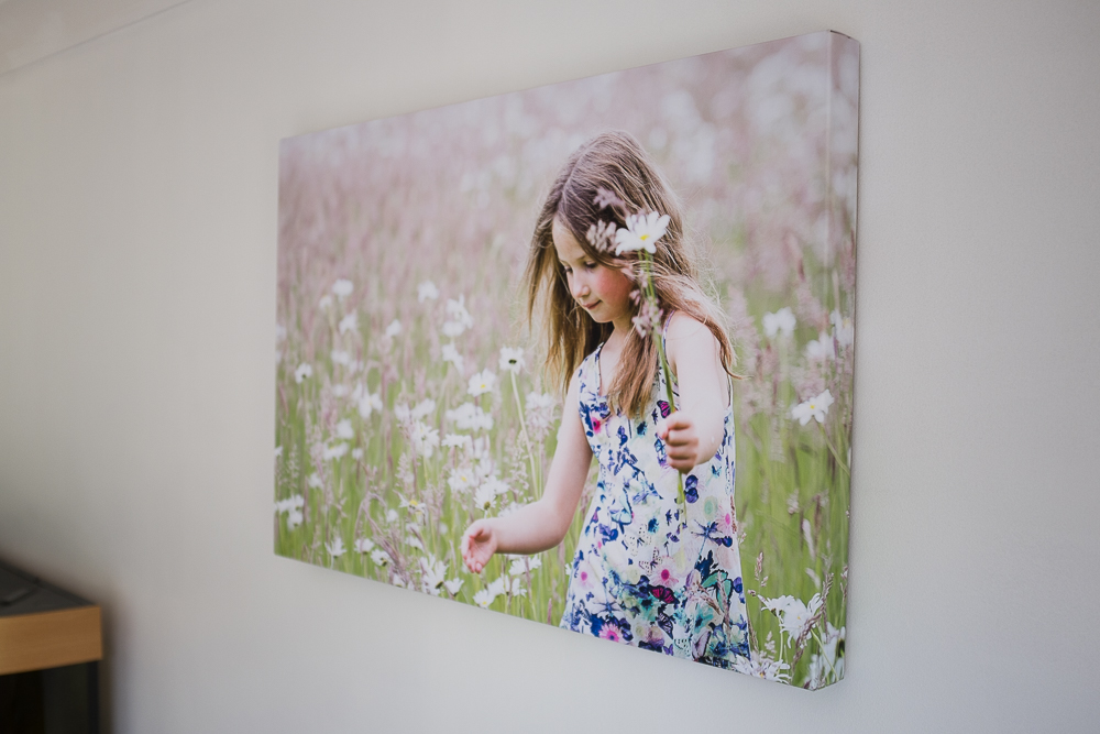 I chose the wraparound option for this canvas because it suited this type of photograph and I really like how you still see the flowers and the meadow from the sides.  It gives the display a 3D effect.