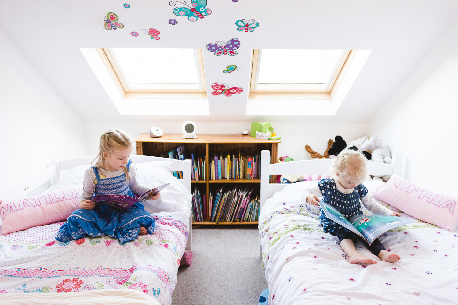 Staffordshire Documentary Child Portrait Photography by Jenny Harper Girls Reading Bedroom Butterflies-1.jpg