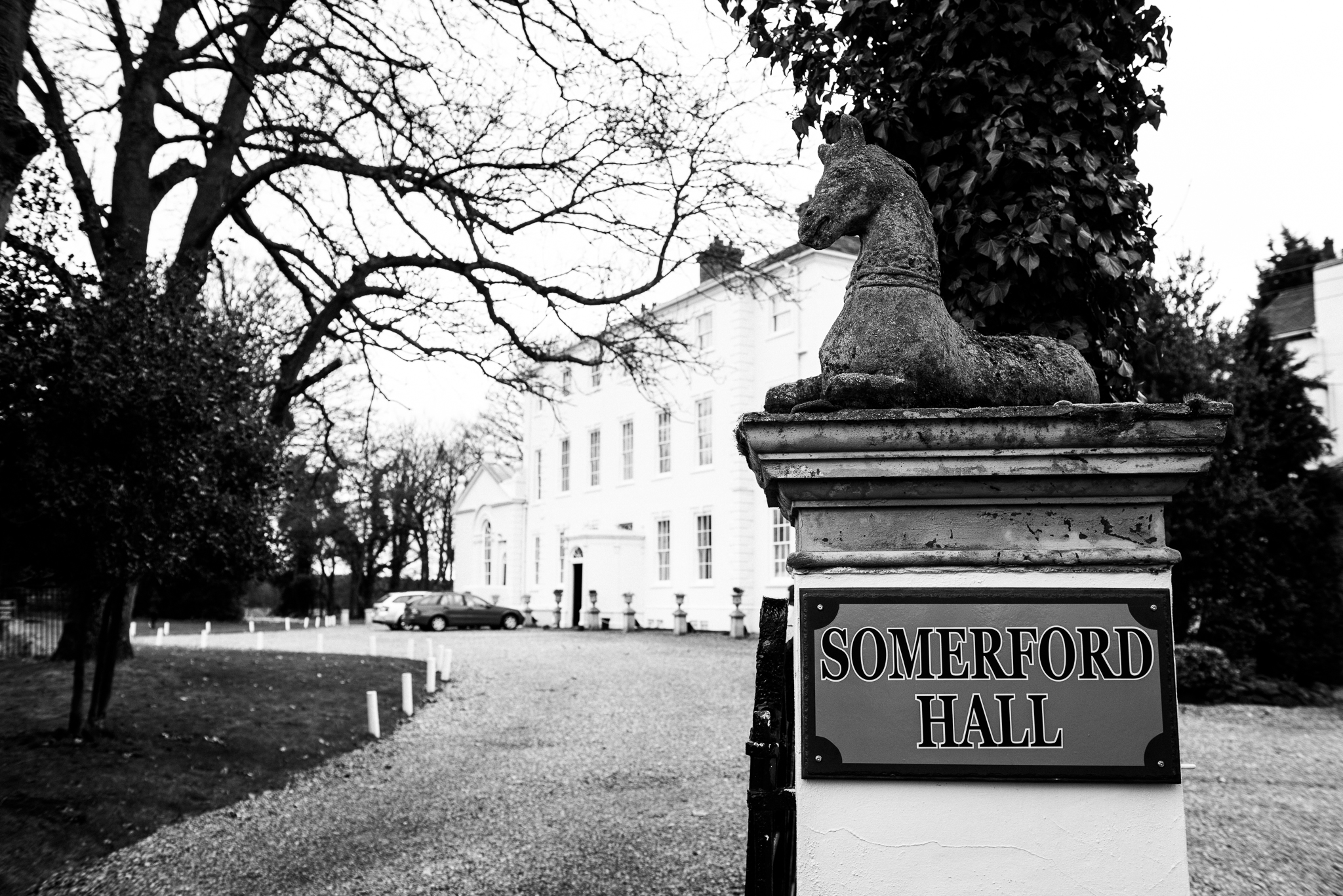 English Winter Wedding Photography at Somerford Hall, Staffordshire Red Bus Double Decker Kilts Bagpiper-1.jpg