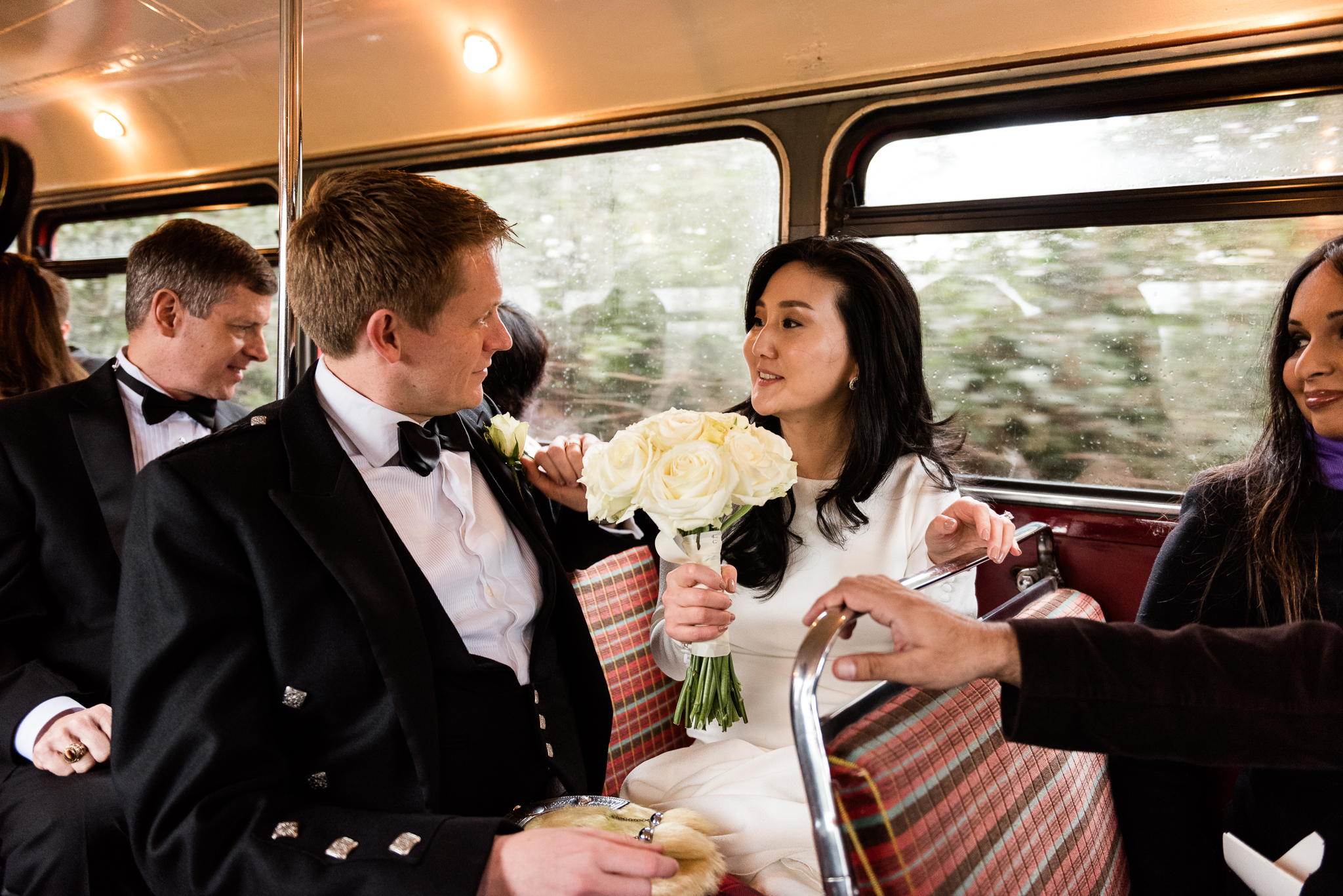 English Winter Wedding Photography at Somerford Hall, Staffordshire Red Bus Double Decker Kilts Bagpiper-37.jpg