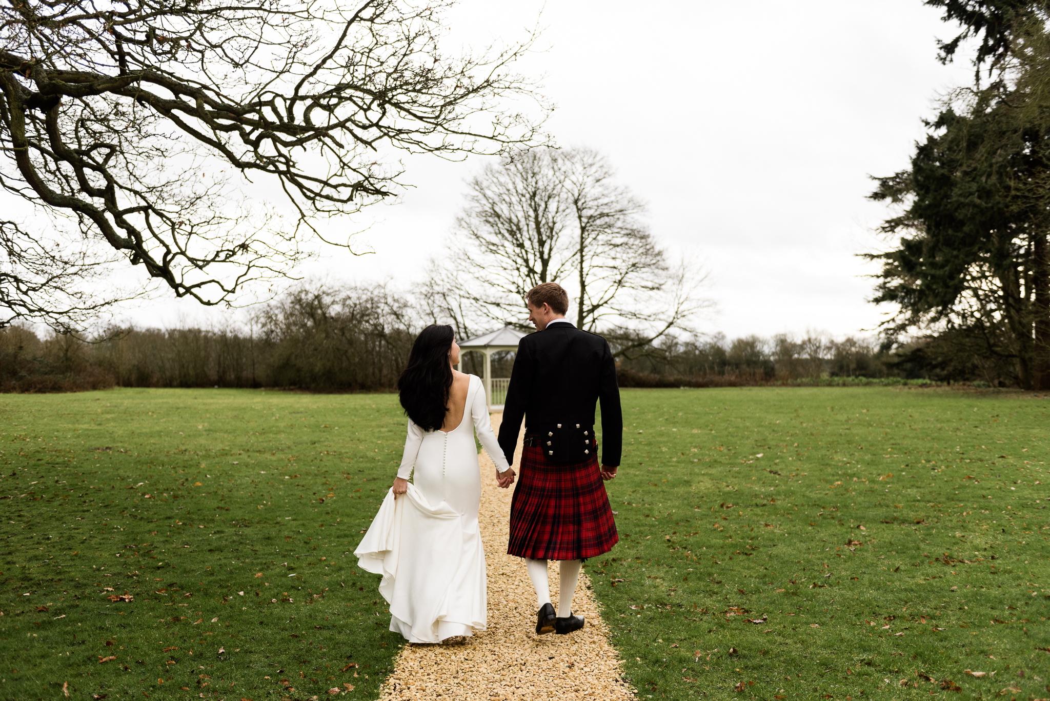 English Winter Wedding Photography at Somerford Hall, Staffordshire Red Bus Double Decker Kilts Bagpiper-44.jpg