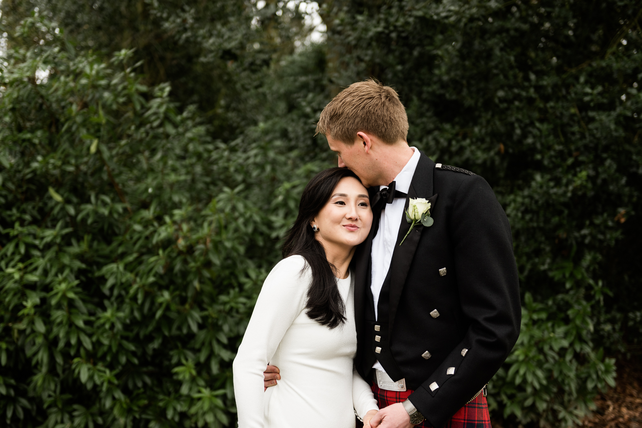 English Winter Wedding Photography at Somerford Hall, Staffordshire Red Bus Double Decker Kilts Bagpiper-49.jpg