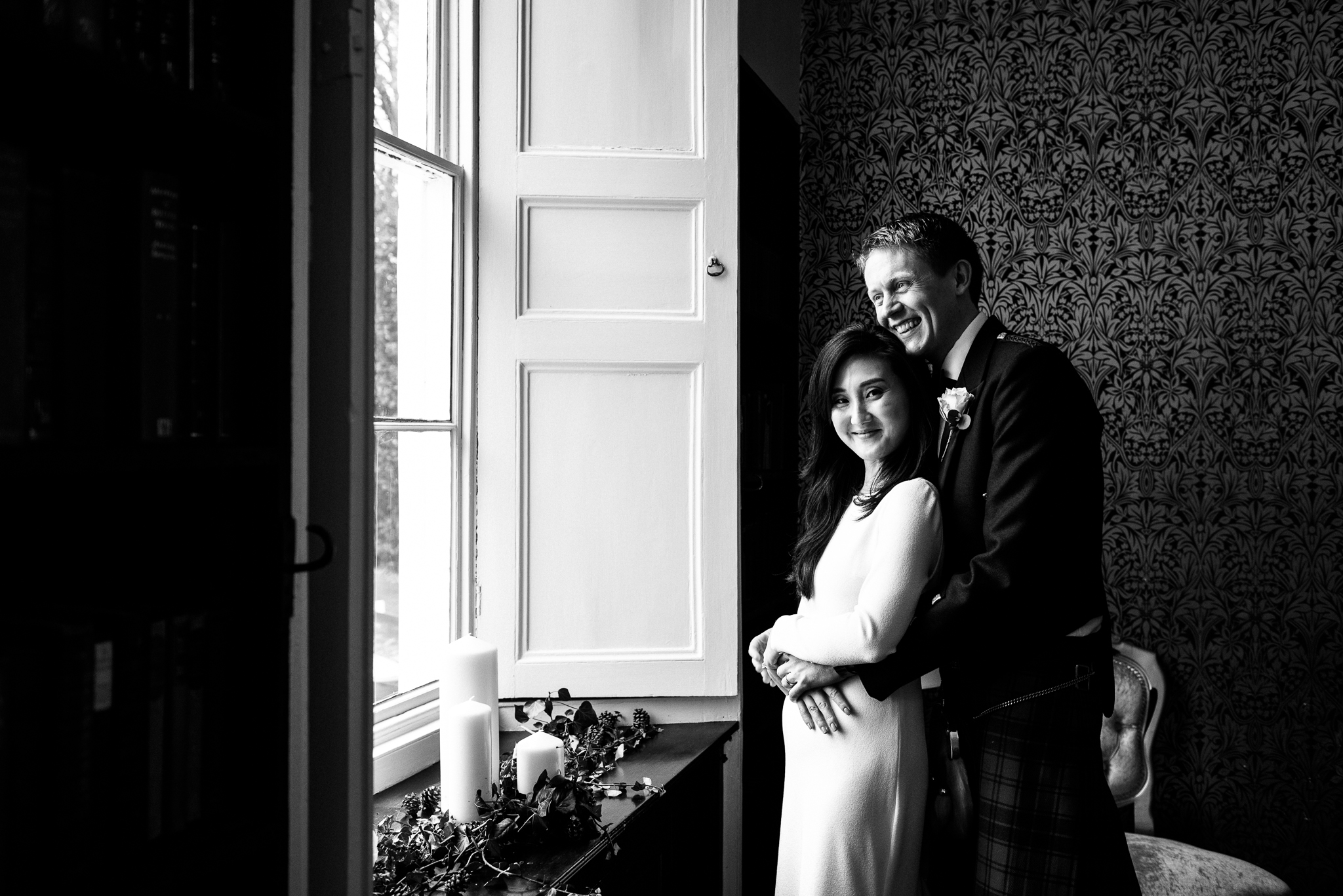 English Winter Wedding Photography at Somerford Hall, Staffordshire Red Bus Double Decker Kilts Bagpiper-53.jpg