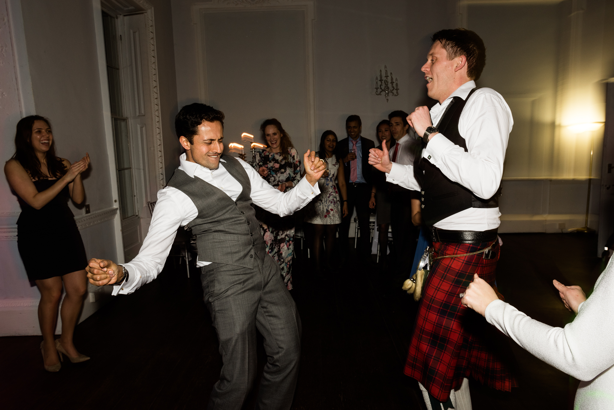 English Winter Wedding Photography at Somerford Hall, Staffordshire Red Bus Double Decker Kilts Bagpiper-70.jpg